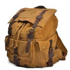 Large Canvas Rucksack   Genuine Leather Canvas Bag Wholesale
