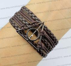 Jewelry Harry Potter Bracelet Deathly Hallow Bracelet -silver deathly hallows charm rope bracelet