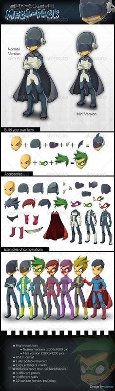 Superhero Megapack - Characters Illustrations