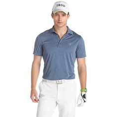 Men's IZOD Solid Jacquard Performance Golf Polo ($30) ❤ liked on Polyvore featuring men's fashion, men's clothing, men's shirts, men's polos, poseidon blue heather, mens blue leopard print shirt, mens golf polo shirts, mens moisture wicking shirts, mens short sleeve shirts and mens patterned shirts
