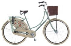 Dawes bicycle=Countess Dutch Ladies The Countess has the upright everyday style of a classic Dutch bike but withspecial design treatment that puts it in a class of its own. Be the envy of town with this classic machine, fitted with a genuine Brooks leather saddle andcolour matched Hesling dress and chainguard. Sturmey Archer alloy hub brakewith 3 speed gears are used to complete the vintage look.