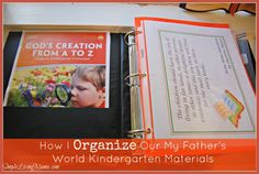 how to organize my father's world kindergarten materials