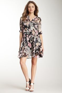 Long Sleeve Print Silk Dress