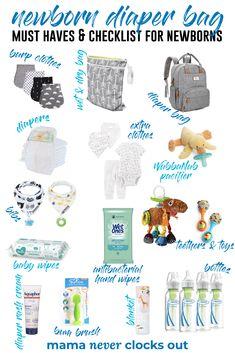 Diaper Bag Checklist, New Baby Checklist, Diaper Bag Essentials, Hospital Bag Checklist, Hospital Bag For Baby, Newborn Essentials List, Baby Checklist Newborn, Baby Diaper Bags, Diaper Bag List