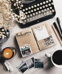 Flatlay Inspiration · via Custom Scene · Polaroid pictures with vintage notebook and typewriter. Flat Lay Photography, Book Photography, Photography Lighting, Flat Lay Fotografie, Book And Coffee, Coffee Latte, Journaling, Photography Sketchbook, Photo Deco