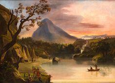 ATRIBUIDO A NICOLINO CALYO ( 1799 - 1884)  Nacimiento del rio Mississippi  Óleo sobre lienzo. 82,5 x 63 cms.  Precio de salida: 10.000€