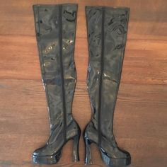 "Thigh High Platform Boots Thigh high black platform boots!  Size 8.  1.5"" platform, 5"" heel, 30.75"" from top of boot to bottom of heel.  Worn 2x with the Sergeant Sexy costume listed in my closet.  Very comfortable!  Minor scuffing/ wear on foot area of both boots.  No trades.  Bundle to save! Ellie Shoes Platforms"