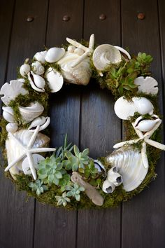San Clemente Shell & Succulent Wreath by GreenThumbGarage on Etsy, $119.00