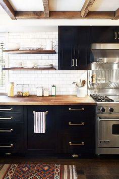 Farmhouse Kitchen Design Plans (Earnest Home co. Black Kitchen Cabinets, Black Kitchens, Cool Kitchens, Kitchen Black, White Cabinets, Brass Kitchen, Colored Cabinets, Distressed Kitchen, Maple Kitchen