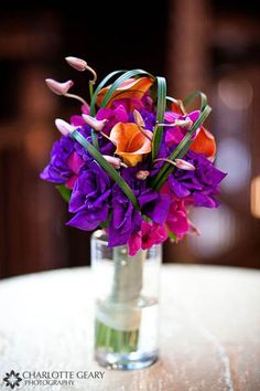 Bouquet of purple, pink, and orange flowers