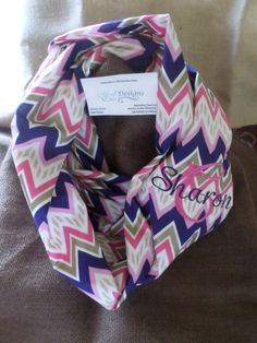Infinity Scarf-Blue and Pink Chevron by MJDesignsShop on Etsy