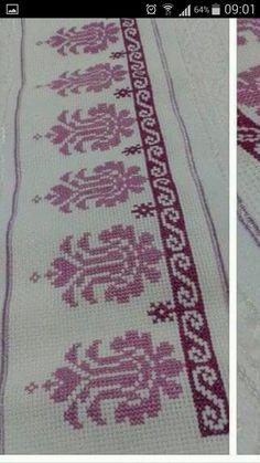 Cross Stitch Borders, Cross Stitch Flowers, Cross Stitch Designs, Hand Embroidery Design Patterns, Cross Stitch Embroidery, Pattern Design, Diy And Crafts, Bohemian Rug, Sewing