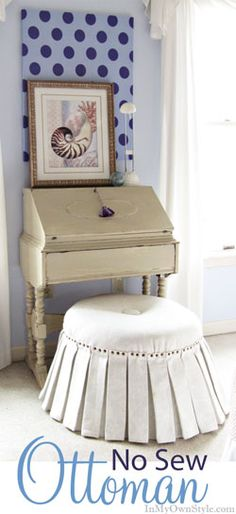 DIY No Sew Ottoman - plus it is on wheels so you can easily move it where you need it!