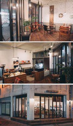 [No.78 Bloc Cafe] 빈티지 카페 인테리어 12평, 벽돌 타일 Retail Interior, Cafe Interior, Shop Interior Design, Cafe Design, Store Design, Interior And Exterior, House Design, Cafe Shop, Cafe Bar