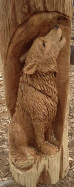 Wood Carving Art, Wood Art, Wood Carvings, Chainsaw Carvings, Walking Canes, Whittling, Wood Projects, Alpha Wolf, Lion Sculpture