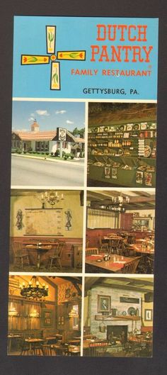 Undated Unused Oversized Postcard Dutch Pantry Family Restaurant Gettysburg PA