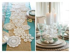 Pretty table setting using layered Runners including one made from doilies stitched together.