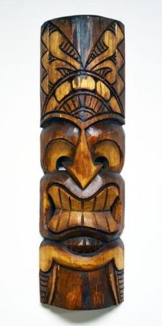 Hawaiian Brown Carved Tiki Hut Mask Wall Handmade Decor Wood Art Tropical 450 | eBay