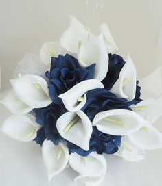 Wedding Bouquet Calla Lily Navy Blue Flowers