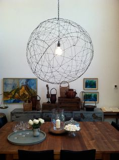 Craft : Ten Lampshades to Make at Home  Wire Orb Lampshade DIY via Hommemaker