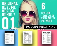 3 Stylish Resume Designs Bundle by Original Resume Design on Creative Market