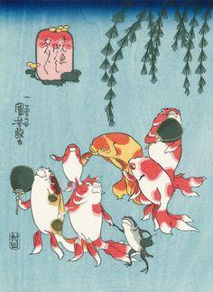 Utagawa Kuniyoshi (Japanese Ukiyo-e Printmaker, ca.1797-1861) / Singing Bonbon, from the series Goldfish (Kingyo Tsukushi)