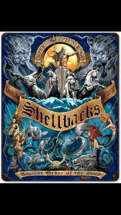 USN Shellbacks 11 x 14 Vintage Metal Sign I still have my Shellback certificate. Crossed the equator on 2 different deployments. Navy Military, Military Humor, Military Veterans, Military Signs, Navy Day, Go Navy, Sons Of Anarchy, Shellback Tattoo, Clash Of Clan