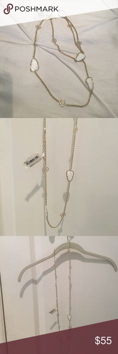 [NEW] Kendra Scott long necklace! Gorgeous long necklace with white stone and the KS logo. Never been worn! Nordstroms tag still on Kendra Scott Jewelry Necklaces