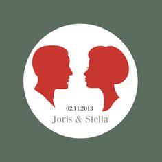 Moderne trouwkaart met vintage silhouettes in retro kleuren | wedding invitation