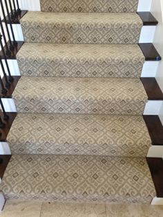 Offered for wall to wall installation, stairs runners or area rugs of any size.  This project was a stair runner installed in Newport Beach, CA.  The Atelier collection of printed nylon carpets are durable and very well priced.  Patterns include ikat, trellis, leopard, zebra, plaid, scroll and more. Purchase at Hemphill's Rugs & Carpets Orange County, CA