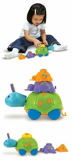 {Turtle Parade Learning Toy} These three colorful animals hitch a ride on each other's tails or stack to make a turtle tower.