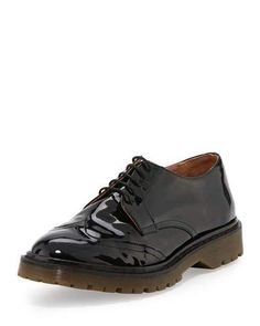 RED VALENTINO Patent Wing-Tip Oxford, Black. #redvalentino #shoes #