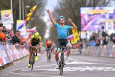 #agr18 BERG EN TERBLIJT, NETHERLANDS - APRIL 15: Arrival / Michael Valgren Andersen of Denmark and Astana Pro Team / Celebration / Roman Kreuziger of Czech Republic and Team Mitchelton-Scott / during the 53rd Amstel Gold Race 2018 a 263km race from Maastricht to Berg en Terblijt on April 15, 2018 in Berg en Terblijt, Netherlands. (Photo by Luc Claessen/Getty Images)