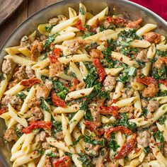 Creamy Kale and Turkey Sausage Pasta with Sun Dried Tomatoes Recipe Main Dishes with penne pasta, olive oil, Italian turkey sausage links, sun-dried tomatoes in oil, garlic, low sodium chicken broth, kale, ground black pepper, salt, butter, all-purpose flour, milk, heavy cream, shredded parmesan cheese
