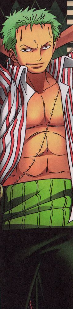One Piece. Zoro. I need a body pillow for this picture... - You're tellin me!