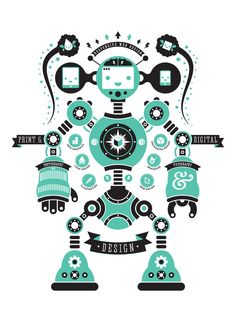 Self Promotion - Robot Poster by Blair Wightman, via Behance