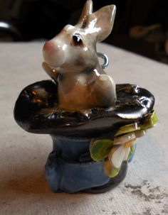 Rabbit poping out of Hat Hanging Ornament by Dragonware on Etsy