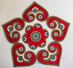 Queen of hearts Diwali cards game Kundan Rangoli in by Kalakruti