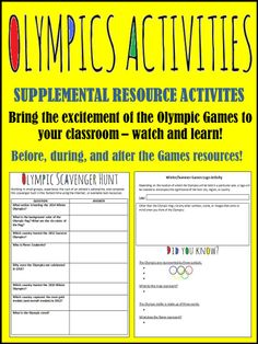 Just in time for Sochi 2014! The supplemental activities included in this bundle allow students an opportunity to learn more about the history and future of the Games, while working collaboratively with their peers.