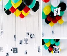 DIY Balloon   Photo Memory Gallery. Tie your favorite photos to ballloons. It will give a big smile on his face.