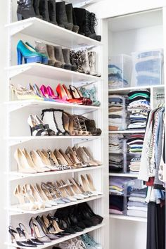 Organization Shoe Storage Ideas to Buy or DIY Diy Closet, Closet Shoe Storage, Space Saving Shoe Rack, Diy Storage, Storage Spaces, Shoe Display, Wooden Shoe Storage, Storage, Wall Mounted Shoe Rack