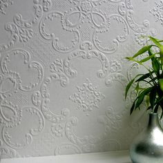 Anaglypta paintable wallpaper with relief texture  Finish with  paint in your choice of colour