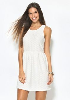 Krátke šaty bez rukávov #ModinoCZ #basic #dress #style #summer #léto #white #whitedress