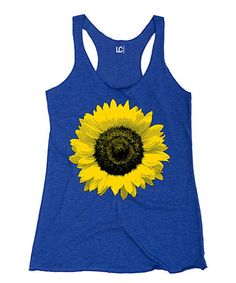 Another great find on #zulily! Royal Blue Sunflower Racerback Tank #zulilyfinds