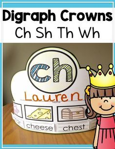 These fun digraph crowns would be great for Kindergarten, First, or Second grade whole group or center activities. The included digraphs are Ch, Sh, Th, Wh (beginning digraph, ending digraph, and combined).