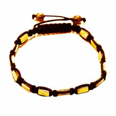 Rave Mens Bracelet Gold Cube Beads in Plated Alloy and Brown Wax Cord Shamballa Inspired Size Adjustable
