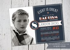 LDS Baptism Invitation and Announcement by PocketFullofPixels, $13.50 #lds #baptism #invitation #boy #sporty