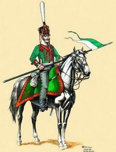 Pavlograd or Olviopol Hussar regt. Trooper, front rank armed with lance, 1812-15.