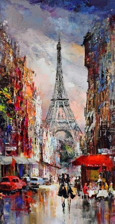 Sev On. Paris France, Eiffel Tower painting with busy city streets.