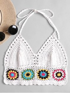 Shop for Halter Crochet Bralette Top WHITE: Tank Tops ONE SIZE at ZAFUL. Only $11.95 and free shipping!